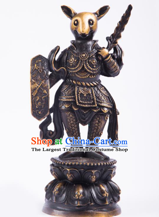 Chinese Traditional Feng Shui Items Taoism Bagua Brass Chinese Zodiac Rat Statue Decoration