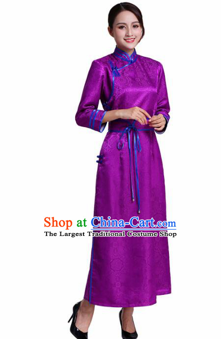 Chinese Traditional Mongolian Ethnic Costumes Mongol Nationality Purple Dress for Women