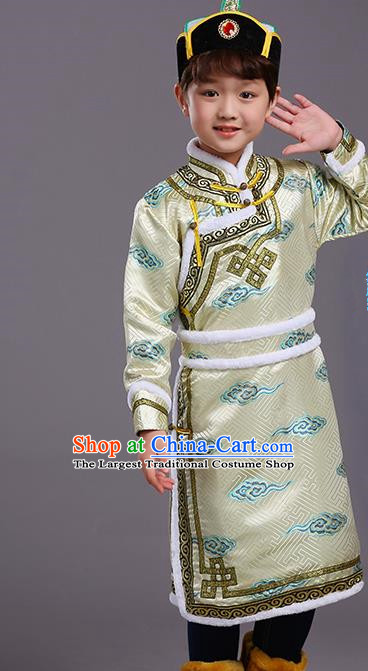 Chinese Traditional Ethnic Children Costumes Mongol Nationality Golden Brocade Robe for Kids