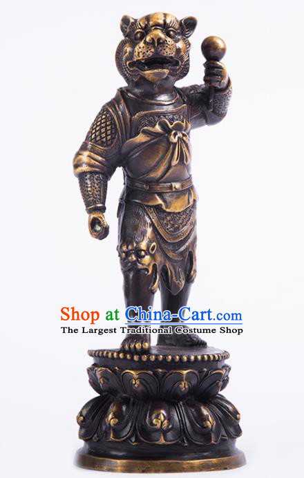 Chinese Traditional Feng Shui Items Taoism Bagua Brass Chinese Zodiac Tiger Statue Decoration