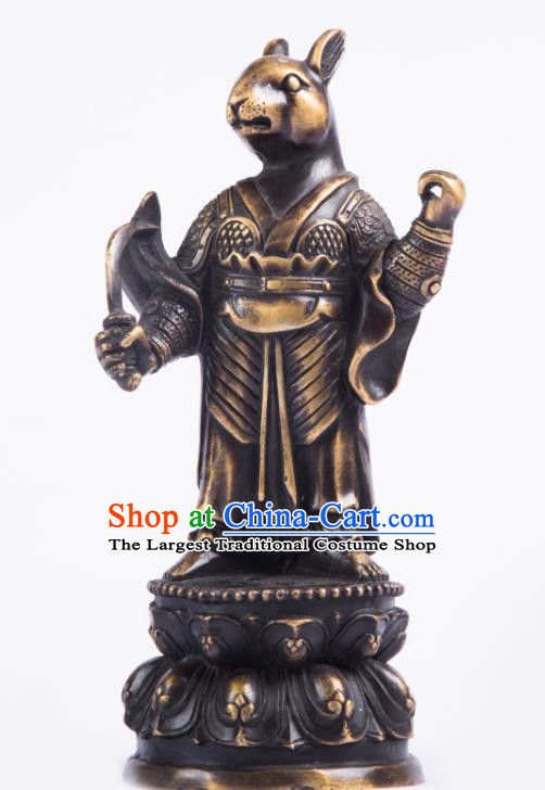 Chinese Traditional Feng Shui Items Taoism Bagua Brass Chinese Zodiac Rabbit Statue Decoration