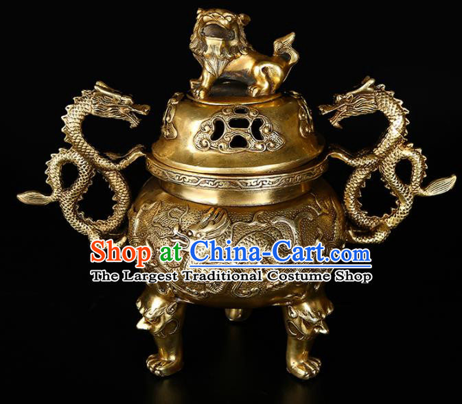 Chinese Traditional Taoism Bagua Brass Lion Dragons Incense Burner Feng Shui Items Censer Decoration