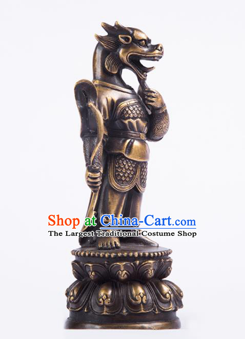 Chinese Traditional Feng Shui Items Taoism Bagua Brass Chinese Zodiac Dragon Statue Decoration