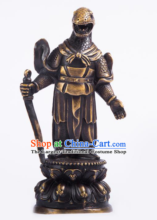 Chinese Traditional Feng Shui Items Taoism Bagua Brass Chinese Zodiac Snake Statue Decoration