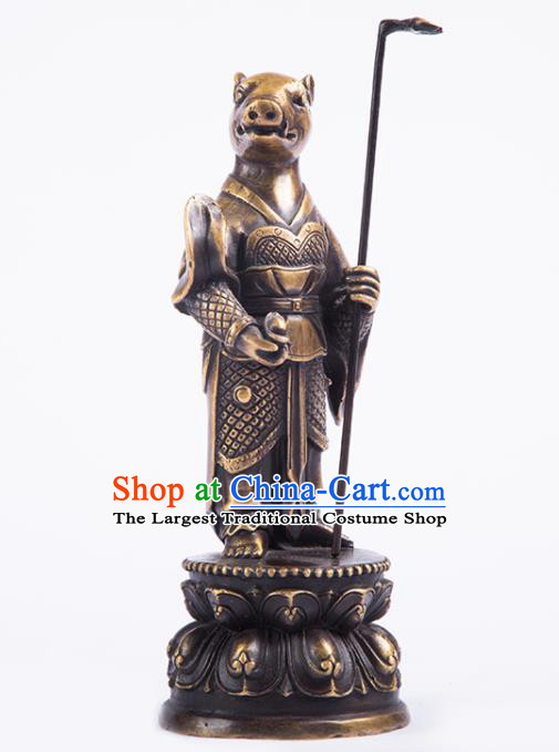 Chinese Traditional Feng Shui Items Taoism Bagua Brass Chinese Zodiac Pig Statue Decoration