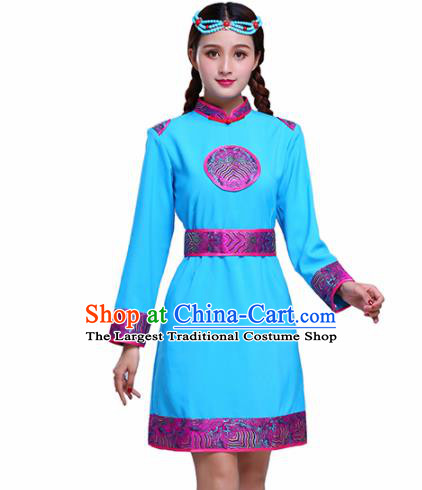 Chinese Traditional Mongolian Ethnic Female Costumes Mongol Nationality Blue Dress for Women