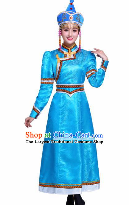 Chinese Traditional Mongolian Ethnic Wedding Costumes Mongol Nationality Princess Blue Dress for Women