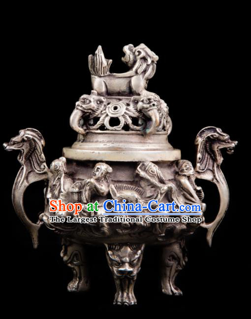 Chinese Traditional Taoism Bagua Cupronickel Eight Immortals Incense Burner Feng Shui Items Censer Decoration