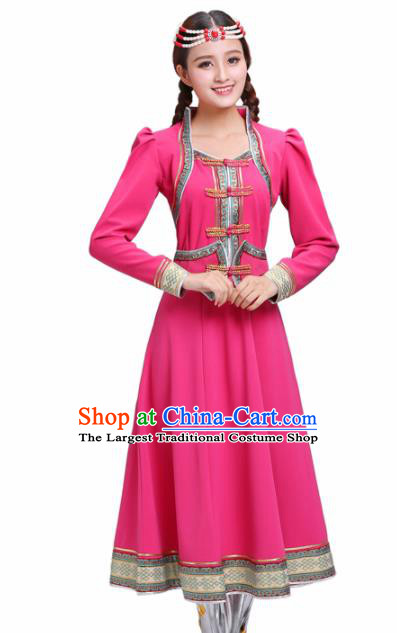 Chinese Traditional Mongolian Ethnic Rosy Dress Mongol Nationality Costumes for Women