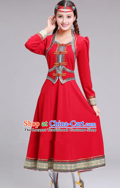 Chinese Traditional Mongolian Ethnic Red Dress Mongol Nationality Costumes for Women