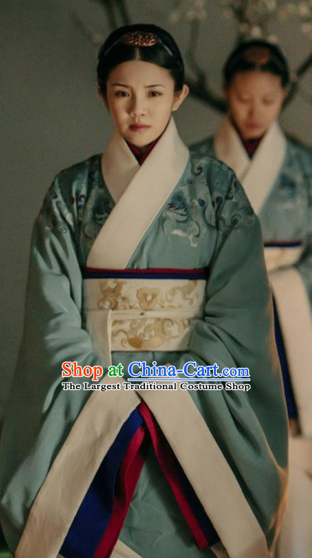 Drama The Lengend of Haolan Chinese Ancient Warring States Period Court Maid Historical Costume and Headpiece for Women