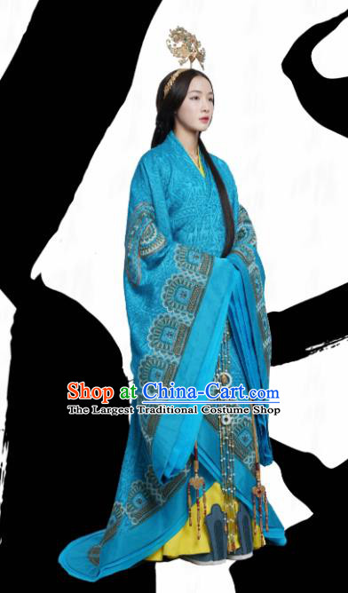 Ancient Chinese Warring States Period Imperial Consort The Lengend of Haolan Embroidered Historical Costume and Headpiece for Women
