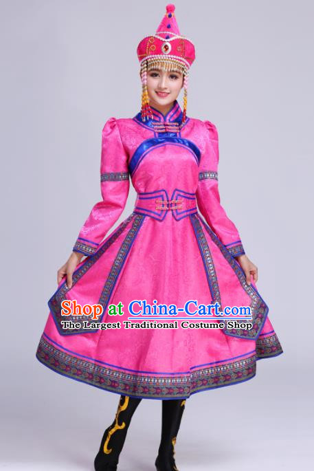 Chinese Traditional Mongolian Ethnic Folk Dance Pink Dress Mongol Nationality Costumes for Women