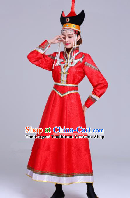 Chinese Traditional Mongolian Ethnic Red Dress Mongol Nationality Folk Dance Costumes for Women
