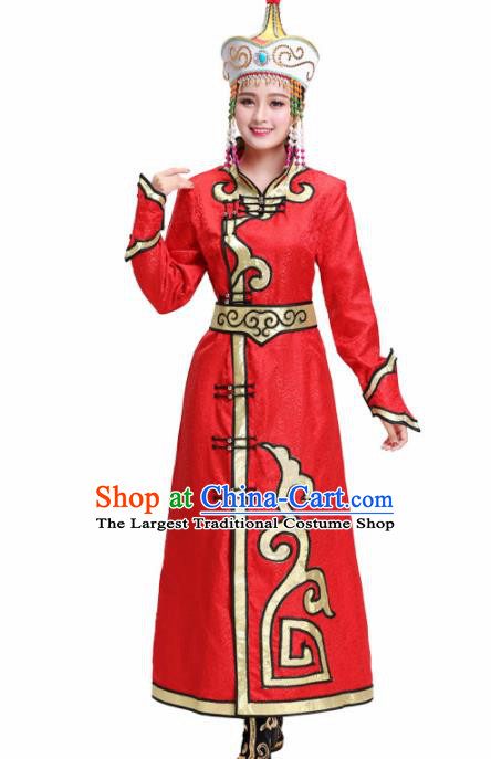 Chinese Traditional Mongolian Ethnic Princess Red Dress Mongol Nationality Folk Dance Costumes for Women