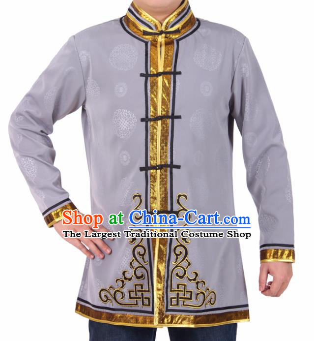 Chinese Traditional Mongol Ethnic Costume Mongolian Nationality Grey Brocade Shirts for Men