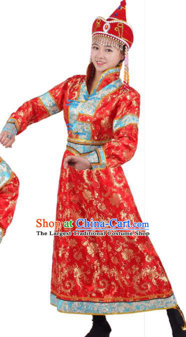 Chinese Traditional Mongolian Ethnic Red Brocade Dress Mongol Nationality Folk Dance Costumes for Women