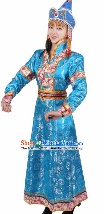 Chinese Traditional Mongolian Ethnic Blue Brocade Dress Mongol Nationality Folk Dance Costumes for Women