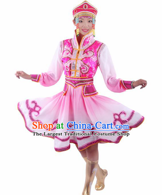 Chinese Traditional Mongolian Folk Dance Pink Dress Mongol Nationality Ethnic Costume for Women