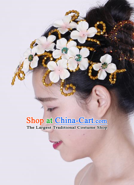 Chinese Traditional Yangko Dance Hair Claw National Folk Dance White Flowers Hair Accessories for Women