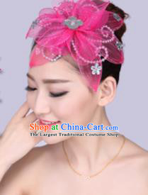 Chinese Traditional Yangko Dance Rosy Veil Hair Claw National Folk Dance Hair Accessories for Women