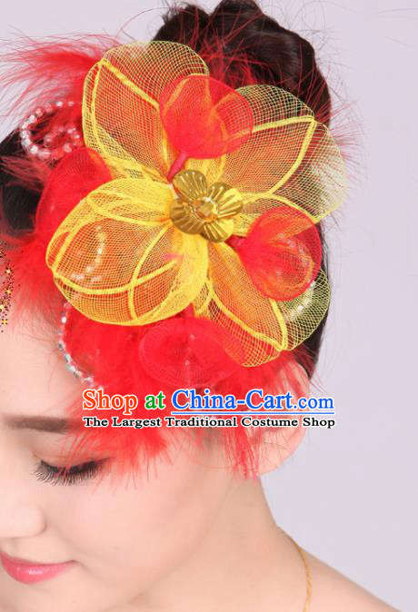 Chinese Traditional Yangko Dance Red Feather Flower Hair Stick National Folk Dance Hair Accessories for Women