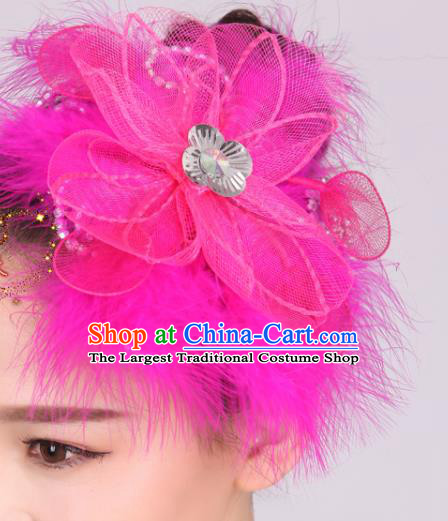 Chinese Traditional Yangko Dance Rosy Feather Flower Hair Stick National Folk Dance Hair Accessories for Women