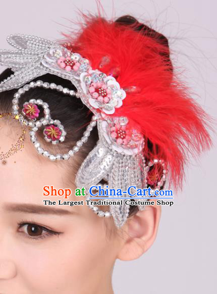 Chinese Traditional Yangko Dance Red Feather Hair Stick National Folk Dance Hair Accessories for Women
