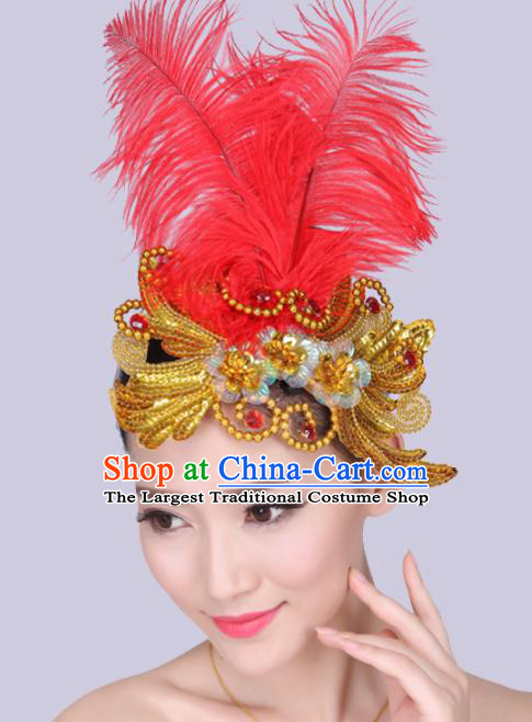 Chinese Traditional Yangko Dance Red Feather Golden Hair Stick National Folk Dance Hair Accessories for Women