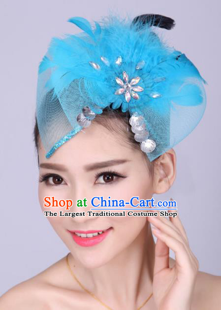 Chinese Traditional Yangko Dance Blue Feather Bowknot Hair Claw National Folk Dance Hair Accessories for Women