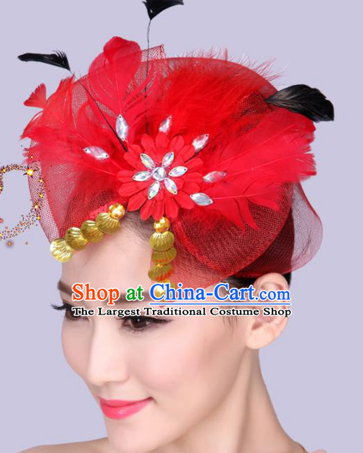 Chinese Traditional Yangko Dance Red Feather Bowknot Hair Claw National Folk Dance Hair Accessories for Women