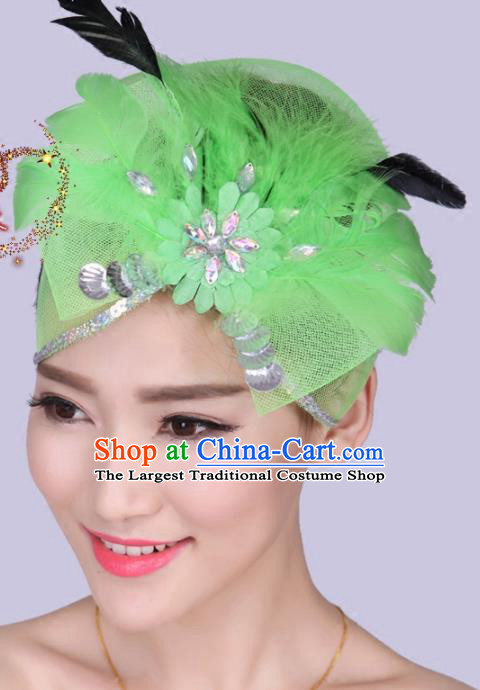 Chinese Traditional Yangko Dance Green Feather Bowknot Hair Claw National Folk Dance Hair Accessories for Women