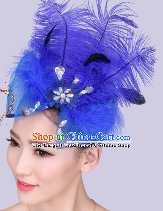 Chinese Traditional Yangko Dance Hair Claw National Folk Dance Royalblue Feather Bowknot Hair Accessories for Women