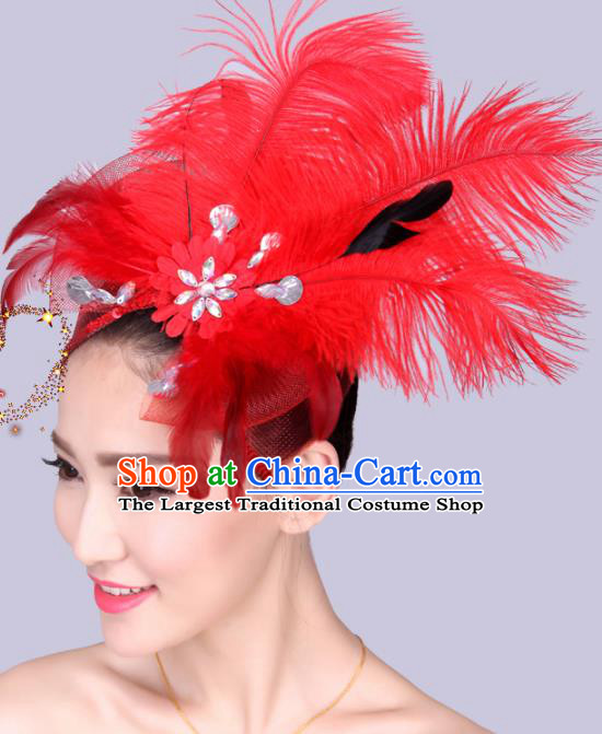 Chinese Traditional Yangko Dance Hair Claw National Folk Dance Red Feather Bowknot Hair Accessories for Women