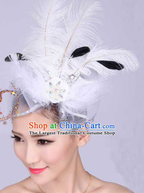 Chinese Traditional Yangko Dance Hair Claw National Folk Dance White Feather Bowknot Hair Accessories for Women