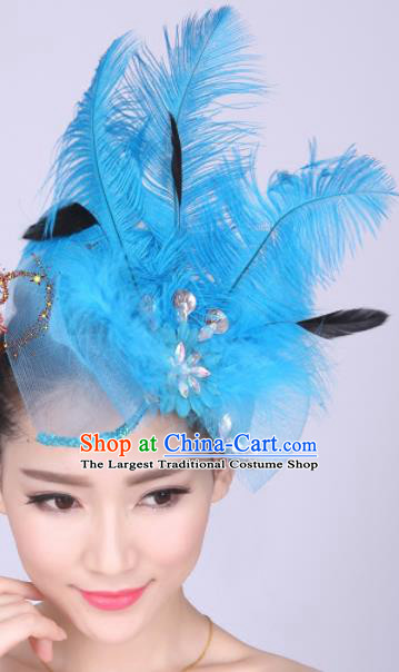 Chinese Traditional Yangko Dance Hair Claw National Folk Dance Blue Feather Bowknot Hair Accessories for Women