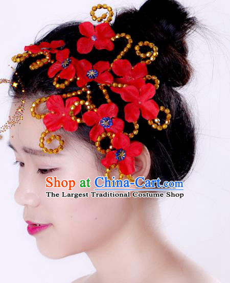 Chinese Traditional Yangko Dance Hair Claw National Folk Dance Red Flowers Hair Accessories for Women