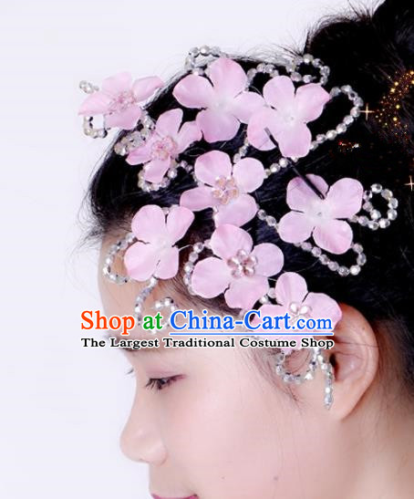 Chinese Traditional Yangko Dance Hair Claw National Folk Dance Pink Flowers Hair Accessories for Women