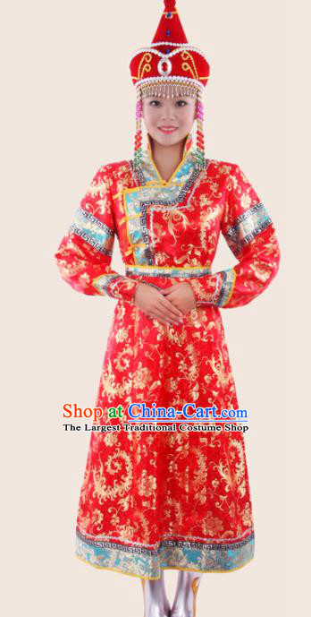 Chinese Traditional Mongolian Folk Dance Red Dress Mongol Nationality Ethnic Costume for Women