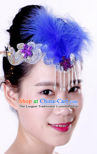 Chinese Traditional Yangko Dance Royalblue Feather Tassel Hair Clasp National Folk Dance Hair Accessories for Women