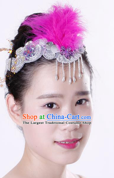 Chinese Traditional Yangko Dance Rosy Feather Tassel Hair Clasp National Folk Dance Hair Accessories for Women