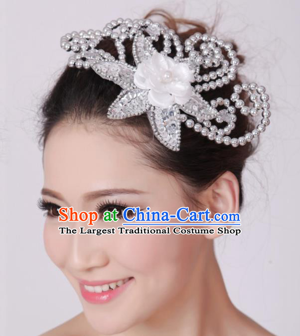 Chinese Traditional Yangko Dance White Flower Hair Claw National Folk Dance Hair Accessories for Women