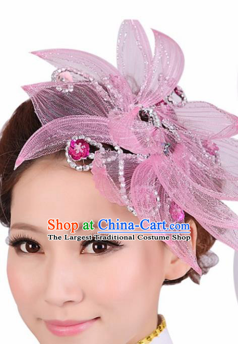 Chinese Traditional Yangko Dance Pink Veil Hair Claw National Folk Dance Hair Accessories for Women