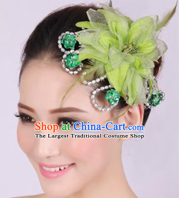 Chinese Traditional Yangko Dance Green Veil Peony Feather Hair Claw National Folk Dance Hair Accessories for Women