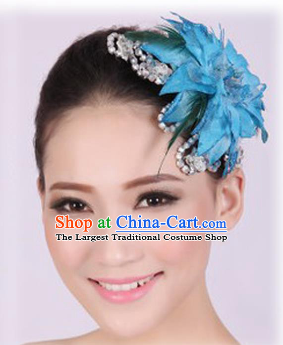 Chinese Traditional Yangko Dance Blue Veil Peony Feather Hair Claw National Folk Dance Hair Accessories for Women