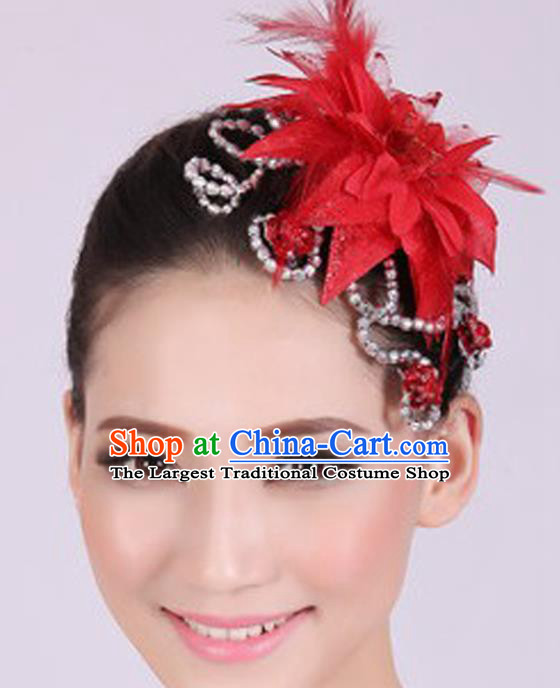 Chinese Traditional Yangko Dance Red Veil Peony Feather Hair Claw National Folk Dance Hair Accessories for Women