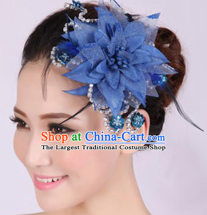 Chinese Traditional Yangko Dance Royalblue Veil Peony Feather Hair Claw National Folk Dance Hair Accessories for Women