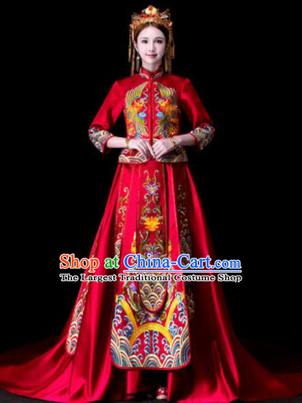 Chinese Traditional Wedding Dress Ancient Bride Embroidered Xiu He Costume for Women