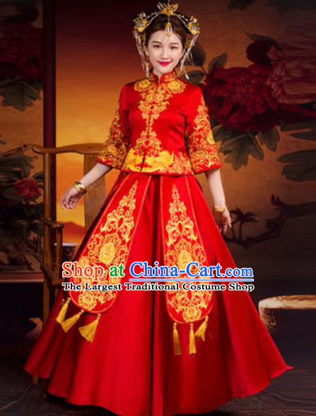 Traditional Chinese Wedding Dress Ancient Bride Embroidered Red Xiu He Costume for Women