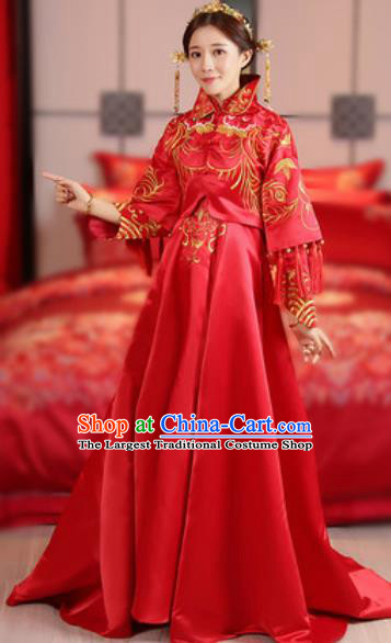 Traditional Chinese Embroidered Wedding Dress Ancient Bride Red Xiu He Costume for Women